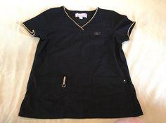 Koi Scrub Top Medium Womens Black Solid Gold Metallic Bling Nurse Limited Ed. Solid Gold, Solid Black, Stylish Scrubs, Koi Scrubs, Scrub Tops, Black Sequins, Metallic, Bling, Medium