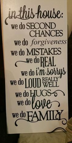 In This House We do forgiveness Family Quote Wooden Wall Sign 12x24 #Handmade #Traditional mission statement