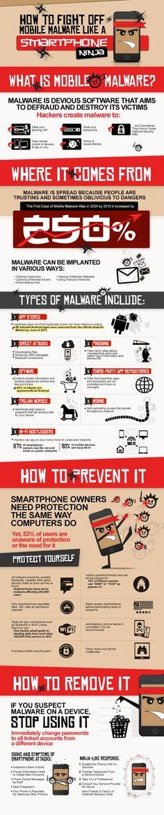 Cómo combatir el malware móvil como un smartphone ninja #infografia #infographic #internet