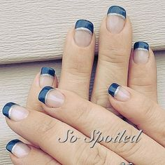 Simple Squoval Navy French with Silver Smile Accent