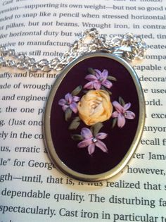 Purple and Lavender Beaded Flower Pendant, Silk Ribbon Embroidery by BeanTown Embroidery, Purple and Lavender