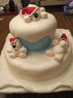 how to make a fondant polar bear | Polar Bears at Play Vanilla Cake with Vanill bc fondant polar bears ...