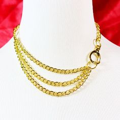 Multistrand Gold Chain Choker With Oversized Clasp