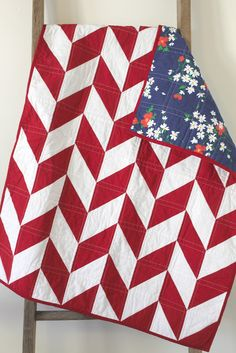 1/2 square triangles....so easy!  Craftyblossom: red and white herringbone quilt.