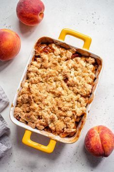 A healthy keto peach cobbler that is made grain free, gluten free, sugar free, ketogenic, and more!  Use fresh, in-season peaches for a delicious dessert that's perfect with a scoop of keto ice cream. Sugar Free Desserts, Desserts To Make, Delicious Desserts, Yummy Food, Keto Desserts, Other Recipes, Great Recipes, Snack Recipes, Dessert Recipes