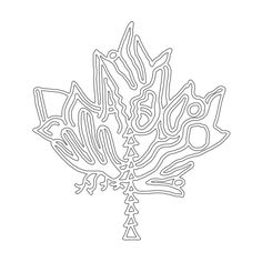 Canadian Maple Leaf Colouring Page with Abstract Drawing in Mind Form by Donald Lee Leaf Coloring Page, Colouring Pages, Coloring Books, Abstract Drawings, Abstract Lines, Canada 150 Logo, Canadian Maple Leaf, Line Drawing, School