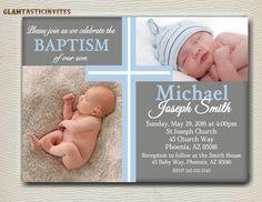 Baptism Invitation Boy Baptism Invitation by GlamtasticInvites