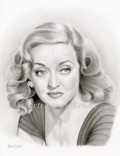 Bette Davis by rondawest {from the USA} ~ pencil portrait