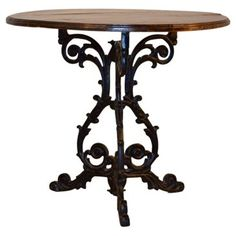 Check out this item at One Kings Lane! English Iron Base Table / love this. Table Furniture, Luxury Furniture, Round Accent Table, Service Design, Home Goods, Kings Lane, Dining Table, Iron, Rustic