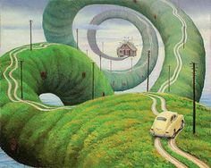 Back to Home (2) - (Jacek Yerka) #surrealism #art #painting #road #green #car #yerka