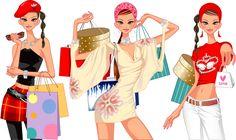 mujer muy mona de compras d, imagen vectorial.
