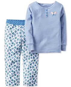 Bedtime basics for baby get an adorable update with this two-piece cotton pajama set from Carter's, with a soft striped Henley-inspired top and a pair of pull-on pants with a pretty mix of prints. | C