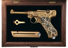 I <3 this Gold Plated Factory Engraved Carved Ivory Stocked Krieghoff Presentation Luger Pistol