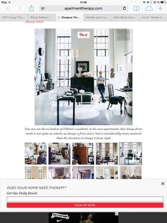 """Not-white neutral color for the walls. Here """"timidity"""" shade used, love it! Love the overall style and feel of this appartment - industrial with pop of color and rich textures, not too Scandi"""