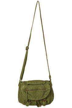 Green Washed Zip Cross Body Bag