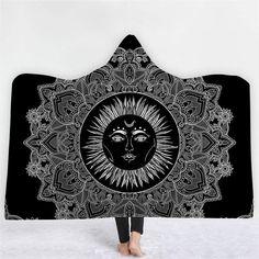 3D Printed Mandala Hooded Plush Blanket Adult Soft Warm Wrap Washable Thick Nap