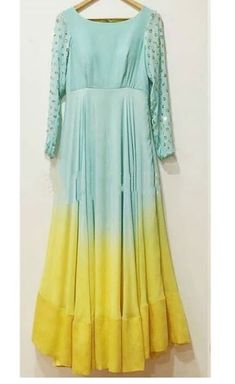 Nice dress with tow color shades Party Wear Frocks, Gown Party Wear, Simple Kurti Designs, Kurta Designs Women, Designer Anarkali Dresses, Designer Dresses, Indian Designer Outfits, Indian Outfits, Simple Indian Suits