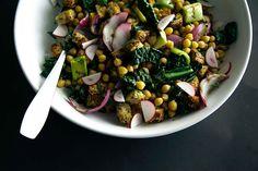 Chickpea, spring onion, kale panzanella salad