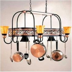 Hi-Lite Odysee Rectangular Hanging Pot Rack with 8 Lights Accent Finish: Satin Copper, Base Finish: Black Leather, Shade: Marble