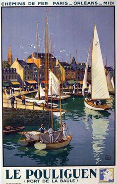 """chemins de fer paris-orléans-midi - Le Pouliguen - 1934 - illustration de Cahrles Hallo dit """"alo"""" - Loire-Atlantique -"""