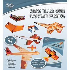Craft for Kids by BMS presents Make Your Own Origami Planes.  Item Code: 9368056966130.  In this kit, you will find 25 pages of coloured origami paper, plus a 80-page book featuring easy-to-follow, step-by-step diagrams for folding ten nifty paper airplanes with photographs to illustrate the final results. For ages 7+.