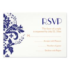 This DealsDamask navy blue, coral wedding RSVP reply cardIn our offer link above you will see
