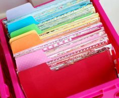 Trim your paper scraps down to 6x6 and file by color in a CD box. Amazing idea for all those extra scrapbook pieces I have flying around!