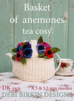 flower basket garden tea cosy teacozy cozy cosies PDF email knitting pattern