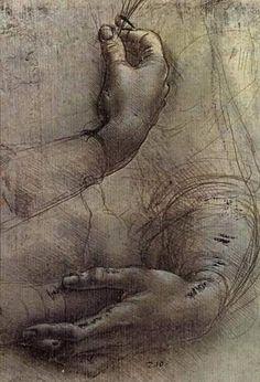 Leonardo da Vinci - Study of arms and hands, 1474, The Royal Collection, London.