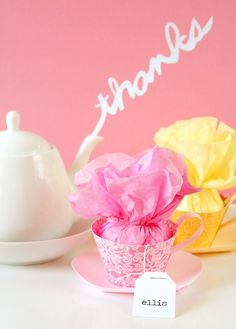 Tea party favors: so darling! Take a cupcake wrapper and add a slim strip for a handle, card stock plate and fill with tissue, tea & treats