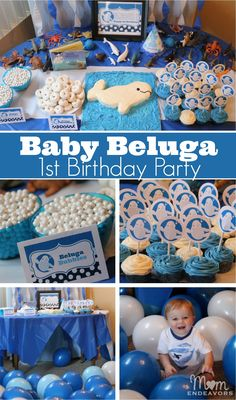 Baby Beluga 1st Birthday Party - a fun & unique theme party theme! Full party details via momendeavors.com
