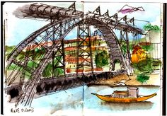 Urban Sketchers Portugal Urban Sketchers, Drawing Sketches, Drawings, Watercolor Sketchbook, Sketch Inspiration, Cityscapes, Game Design, Sketchbooks, Street Photography