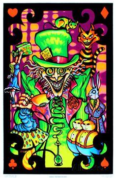 Alice in Wonderland Mad Hatter Collage Flocked Blacklight Poster Art Print Poster at AllPosters.com