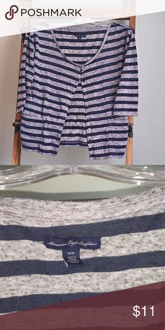 American Eagle button up cardigan style top. Button up top. Lightweight cardigan style. 3/4 sleeve. Navy blue and grey American Eagle Outfitters Tops