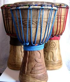 Djembe Drums http://worldhanddrums.com We had so much fun playing these in South Africa and Zimbabwe!