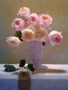 """Dennis Perrin  """"Roses in Milk Glass""""  oil on linen  24"""" 18""""  contact perrinpainter@gmail.com"""