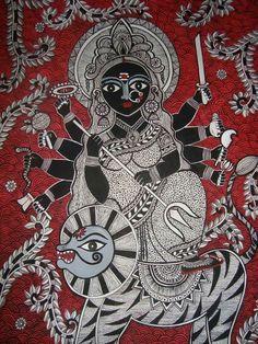 Durga Madhubani Painting Madhubani Art, Madhubani Painting, Indian Folk Art, Indian Artist, Hindus, Tantra Art, Art Beat, Ganesha Painting, Indian Paintings
