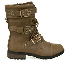 Mango-36 Taupe Multi Buckle Detail Combat Boots
