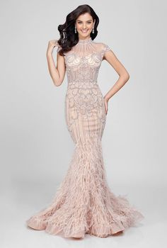 235acca577 Terani Couture Beaded Cap Sleeve Gown