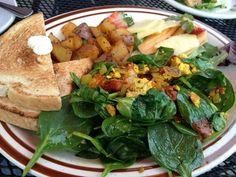 Tofu Scramble with potatoes, toast, and fruit.   Yelp