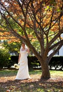Bride with fall foliage