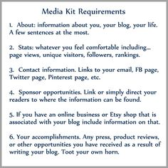 media kit requirements