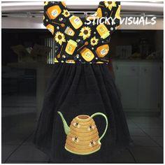 Bee Hive Watering Can Kitchen Oven Door Towel Black Embroidered