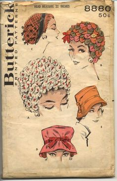 Vintage Sewing Patterns features vintage sewing patterns from the to the that anyone can add to. Vintage dress patterns, vintage bathing suit patterns and more. Hat Patterns To Sew, Vintage Dress Patterns, Clothing Patterns, Retro Clothing, Vintage Veils, Vintage Hats, Vintage Ladies, Vintage Fashion 1950s, Millinery Hats