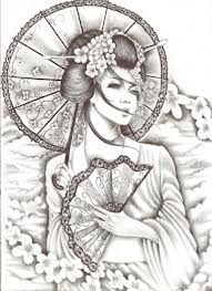 Japanese geisha drawing. Thinking about this being the feature of my sleeve.....