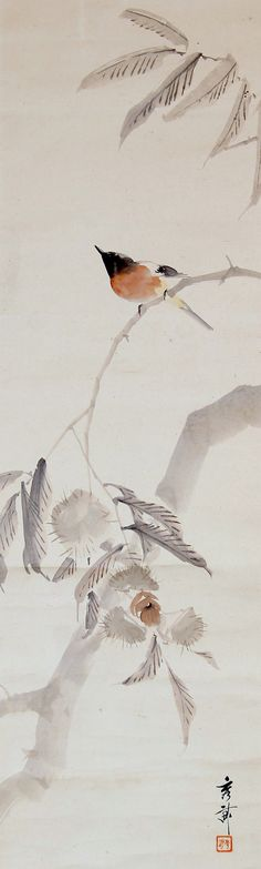 Ikegami Shuho 池上秀畝 (1874-1944), one of three kachoga scrolls, detail.