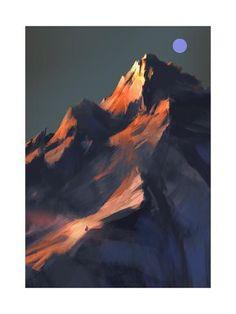 Digital Painting Tutorials, Digital Art Tutorial, Art Tutorials, Sunset Landscape, Landscape Art, Landscape Paintings, Landscapes, Mountain Art, Mountain Paintings