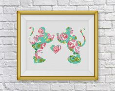 BOGO FREE!Disney Mickey & Minnie Mouse,Disney Cross Stitch Pattern,Floral Mickey Flowers Counted Cross Stitch,PDF Instant Download,S107 by ElCrossStitch on Etsy