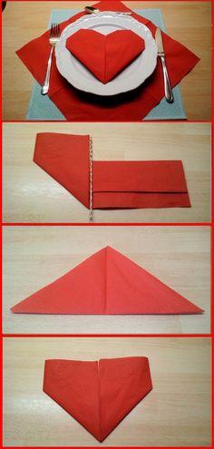 💘 Servietten falten Herz 👈 - Heart love Serviettenfalten Origami freude mo- Napkin Origami, Paper Napkin Folding, Christmas Napkin Folding, Christmas Napkins, Christmas Origami, Origami Box, Origami Easy, Ostern Party, Invisible Stitch
