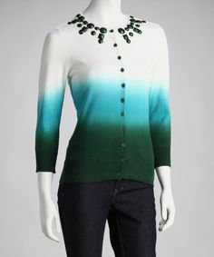 Take a look at this White & Teal Embellished Dip-Dye Cardigan by WD•NY on #zulily today! $14 !!
